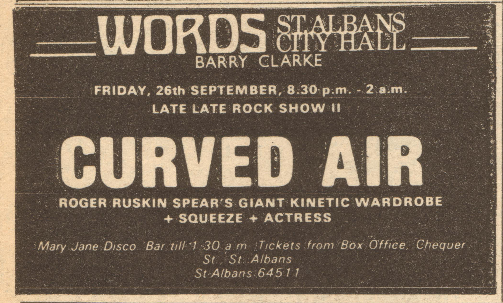 Squeeze St Albans 26 September 1975