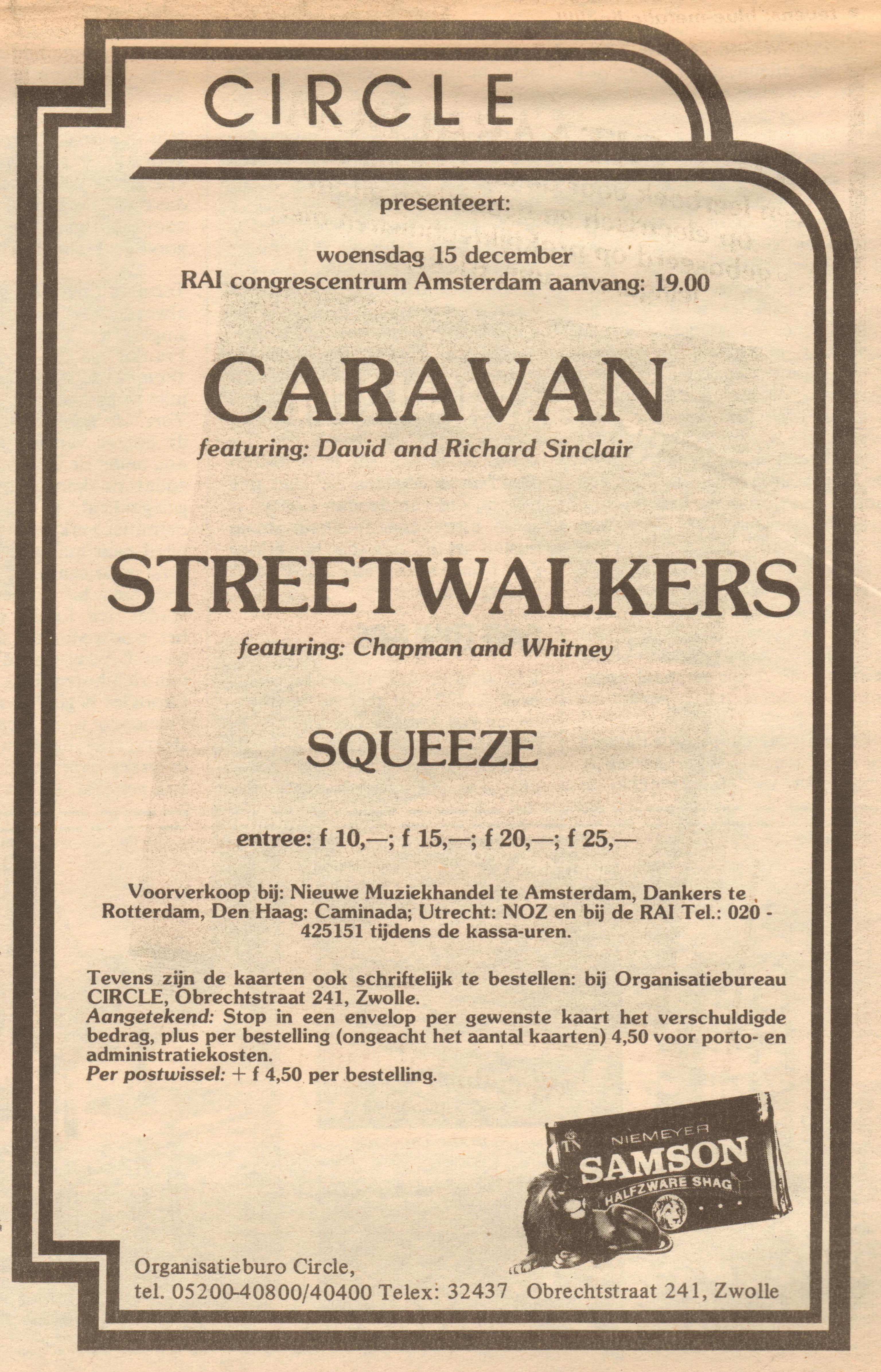 Squeeze Amsterdam 15 December 1976 Prmom AD