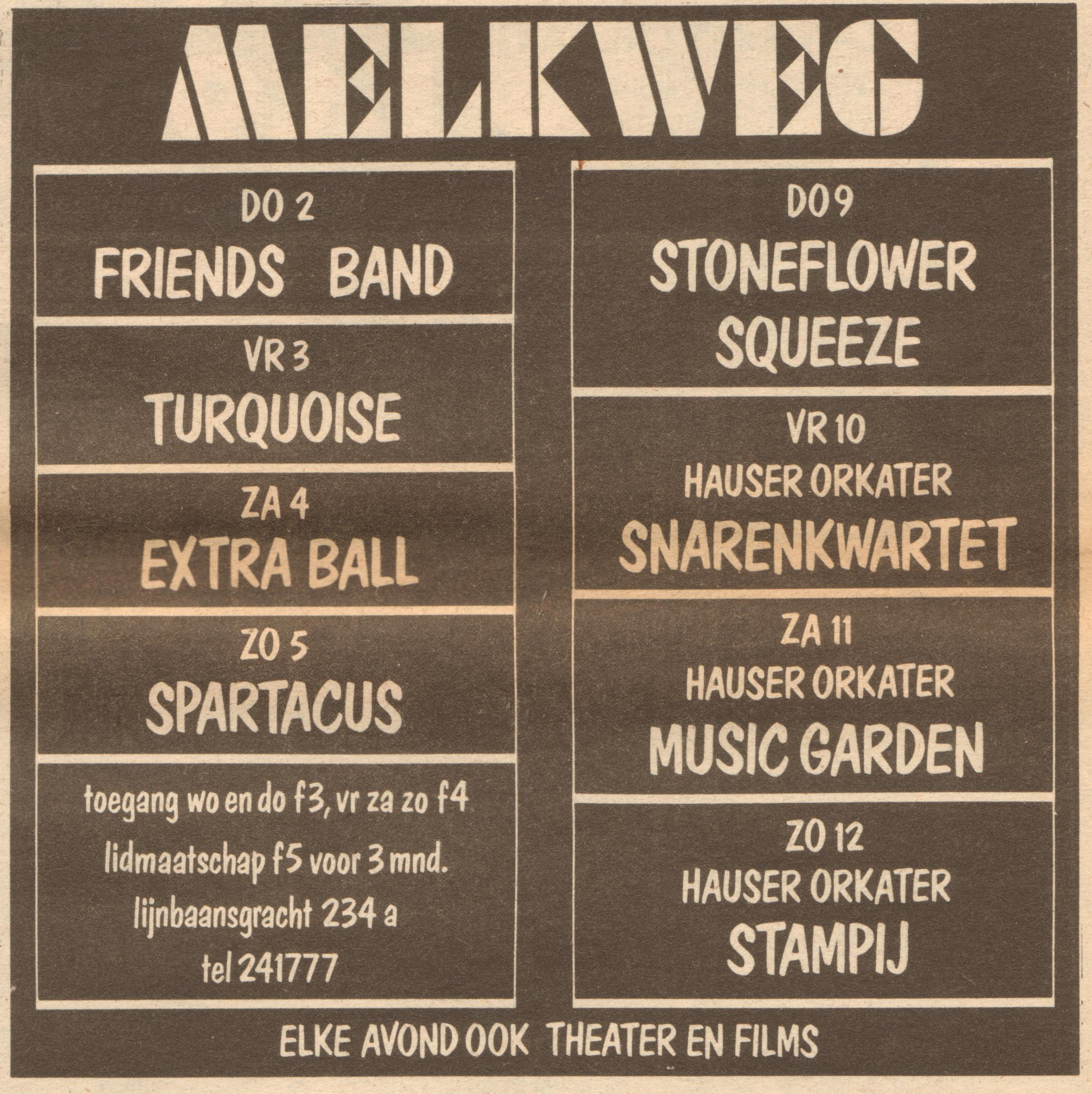 Squeeze Amsterdam Melkweg 9 December 1976