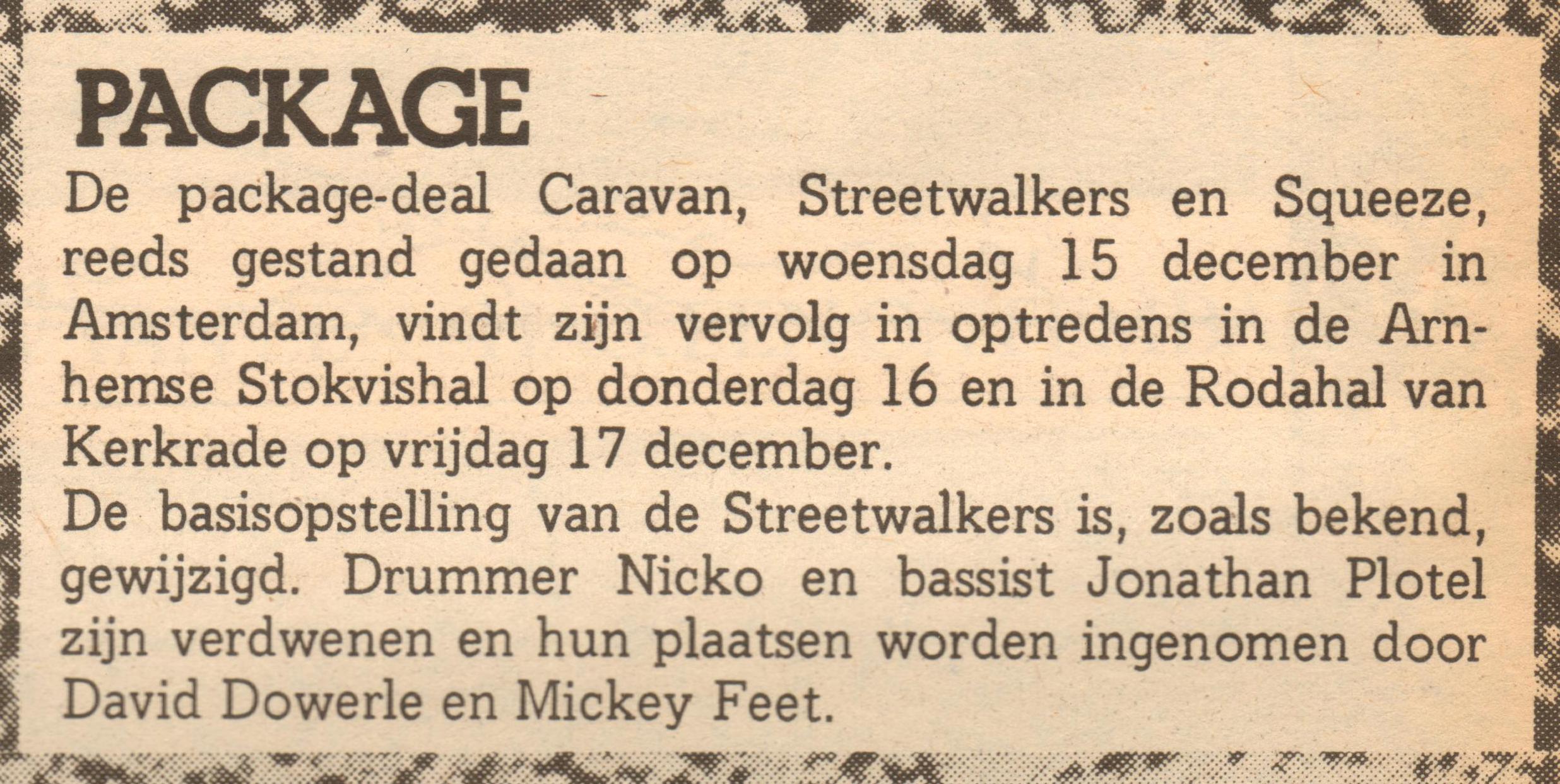 Squeeze Caravan Streetwalkers December 1976