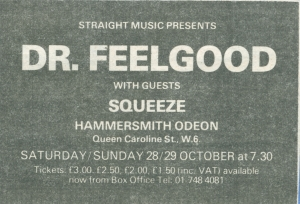 Squeeze - 28 October 1978 - live at  Hammersmith Odeon