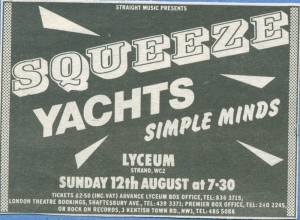 Squeeze - 12 August 1979 - live at  Lyceum