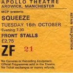 Ticket for Squeeze - 23 November 1979 - live at Manchester Apollo