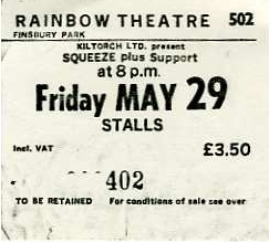Squeeze - 29 May 1981 - live at  Rainbow London