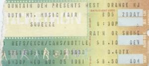 Squeeze - 5 August 1981 - live at  Music Fair New Orange NJ