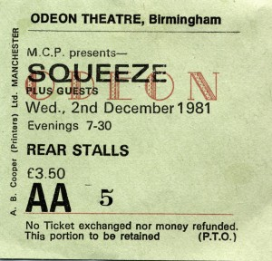 Squeeze - 2 December 1981 - live at  Birmingham Odeon