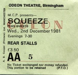 Squeeze - 2 December 1981 - live at  Birmingham Odeon
