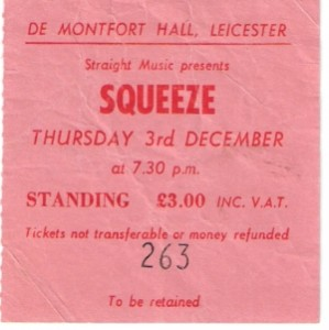 Squeeze - 3 December 1981 - live at  De Montfort Hall Leicester