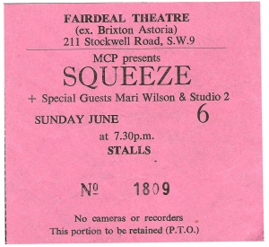 Squeeze - 6 June 1982 - live at  Brixton Fair Deal
