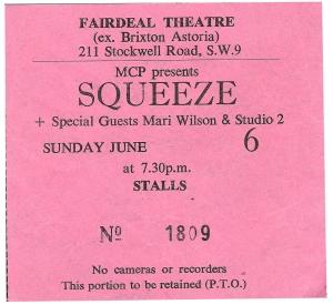 Squeeze - 6 June 1982 - live at  Brixton Fair Deal