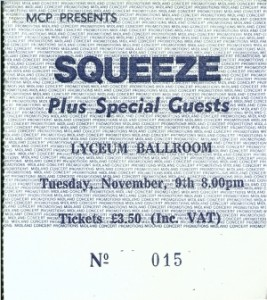 Squeeze - 9 November 1982 - live at  Lyceum London