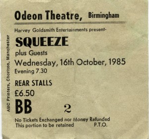 Squeeze - 16 October 1985 - live at  Birmingham Odeon