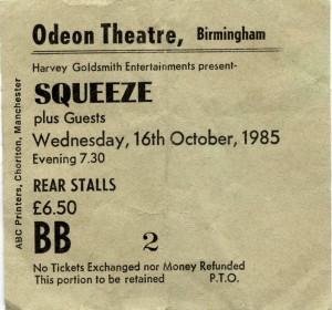 Squeeze - 16 October 1985 - live at  Birmingham Odeon