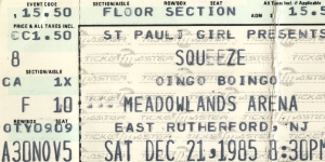 Squeeze - 21 December 1985 - live at  Meadowlands,  New Jersey