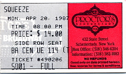 Squeeze - 20 April 1987 - live at  Procters Theatre,  Schenectady,  New York