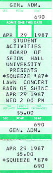 Squeeze - 29 April 1987 - live at  The Presidents Lawn,  South Orange,  New Jersey