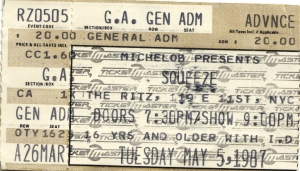 Squeeze - 5 May 1987 - live at  The Ritz,  New York