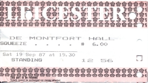 Squeeze - 19 September 1987 - live at  De Montfort Hall,  Leicester