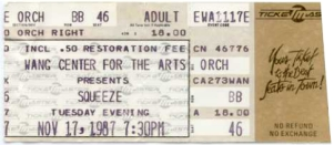 Squeeze - 17 November 1987 - live at  The Wang Centre,  Boston