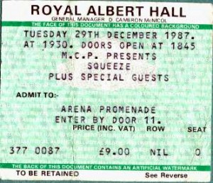 Squeeze - 29 December 1987 - live at  Royal Albert Hall