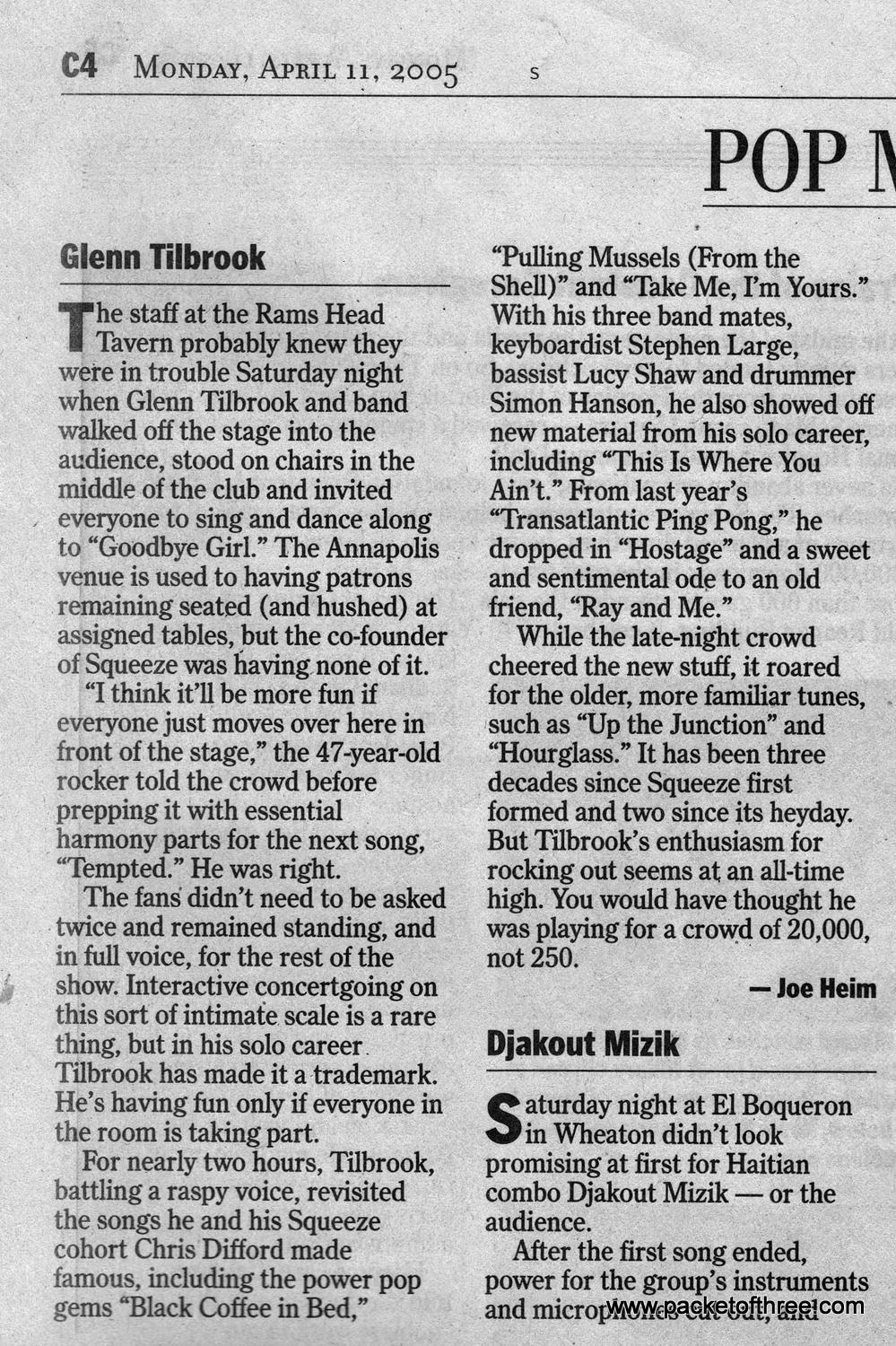 Glenn Tilbrook - 09 April 2005- Washington Post gig review