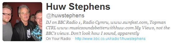 Huw Stephens on Twitter