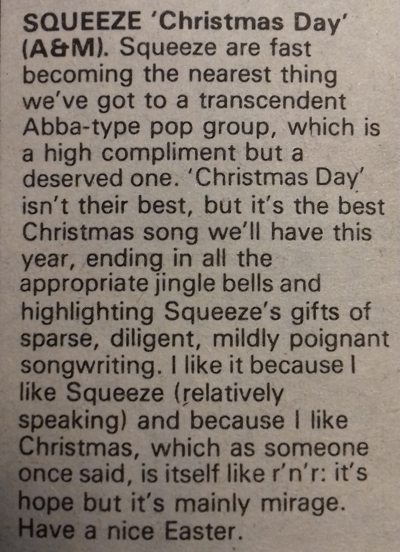 Christmas Day review from Sounds November 1979
