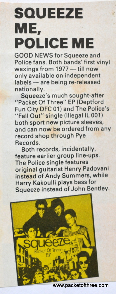 Re-issue of Packet of Three announced in Smash Hits