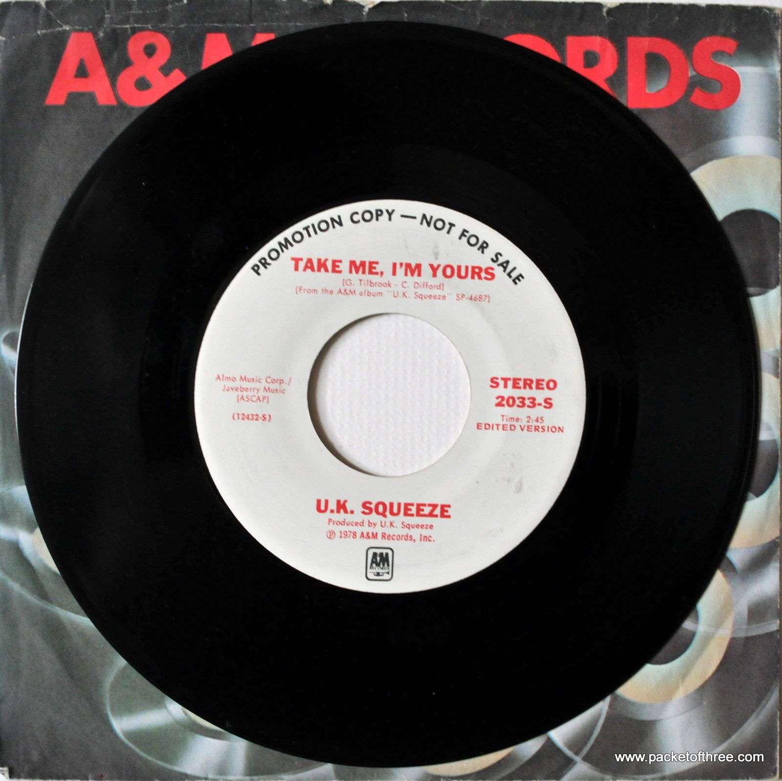 Take Me I'm Yours – USA – 7″ – mono/stereo promotional copy