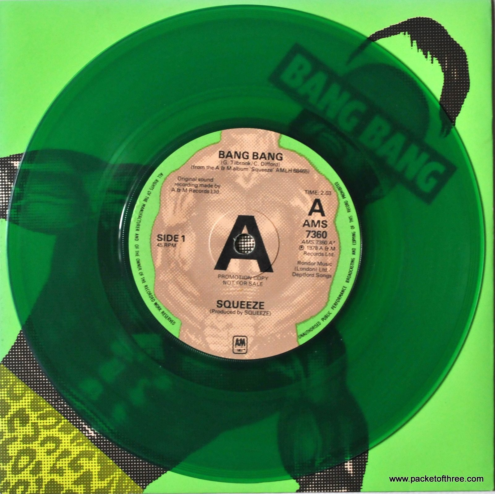 "Bang Bang - UK - 7"" - picture sleeve - green vinyl promotional copy"