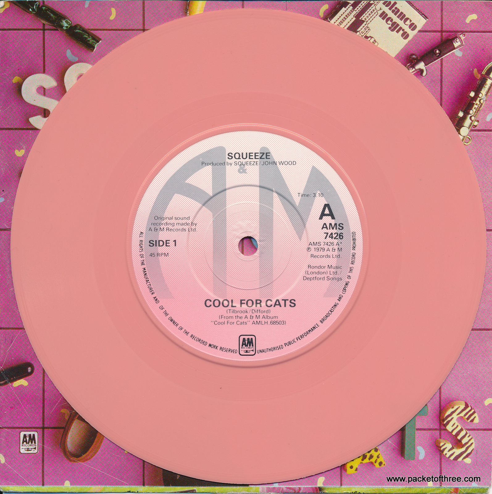 "Cool For Cats - UK - 7"" - picture sleeve - pale pink vinyl"