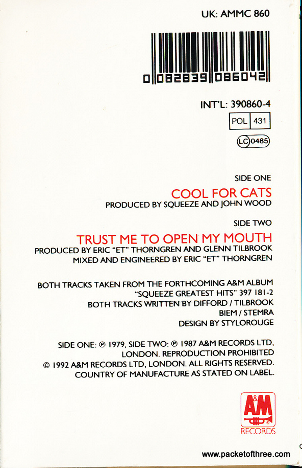 Cool For Cats - cassette single
