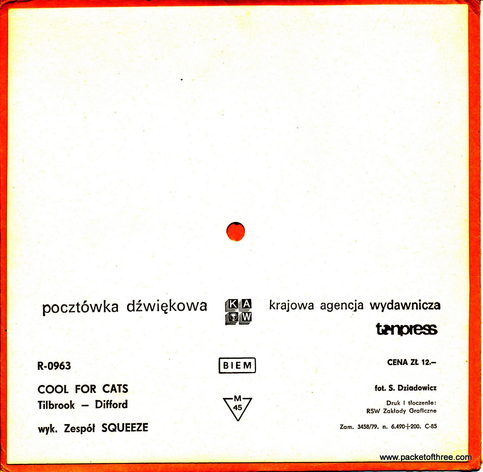 """Cool For Cats - Poland - 7"""" - postcard picture disc"""