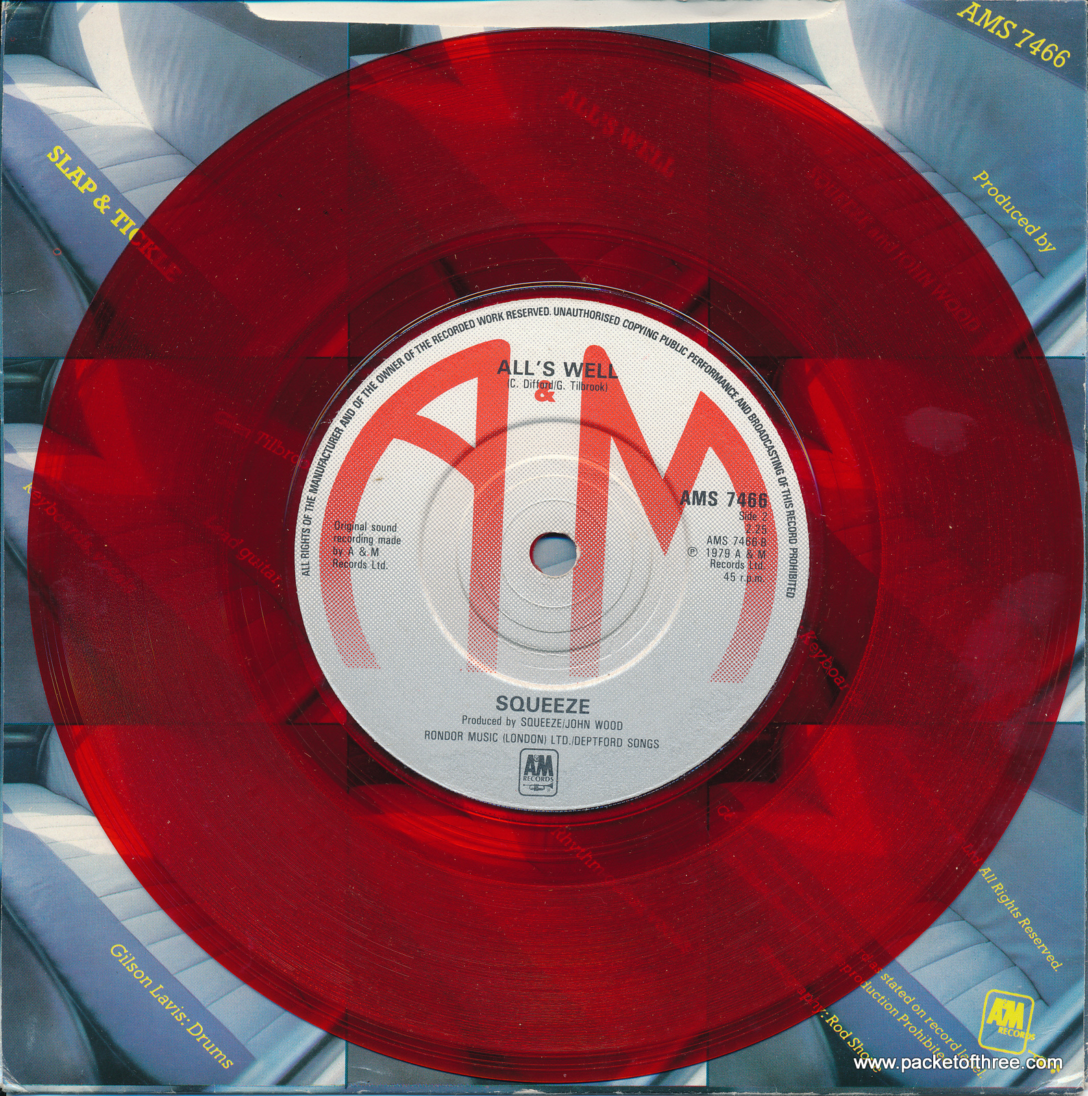 """Slap and Tickle - UK - 7"""" - red vinyl - picture sleeve"""