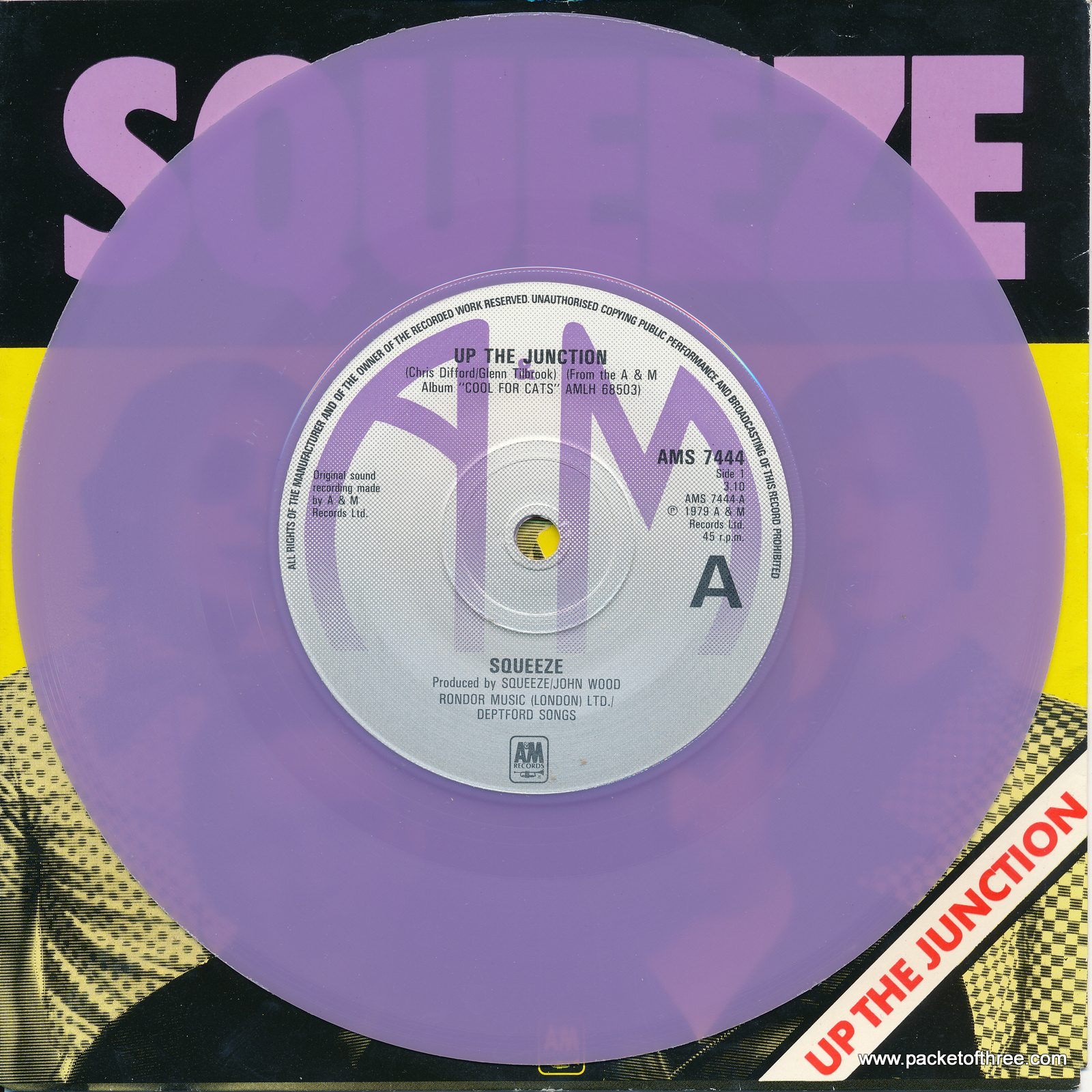 "Up the Junction - UK - 7"" - picture sleeve - lilac vinyl - glossy sleeve"
