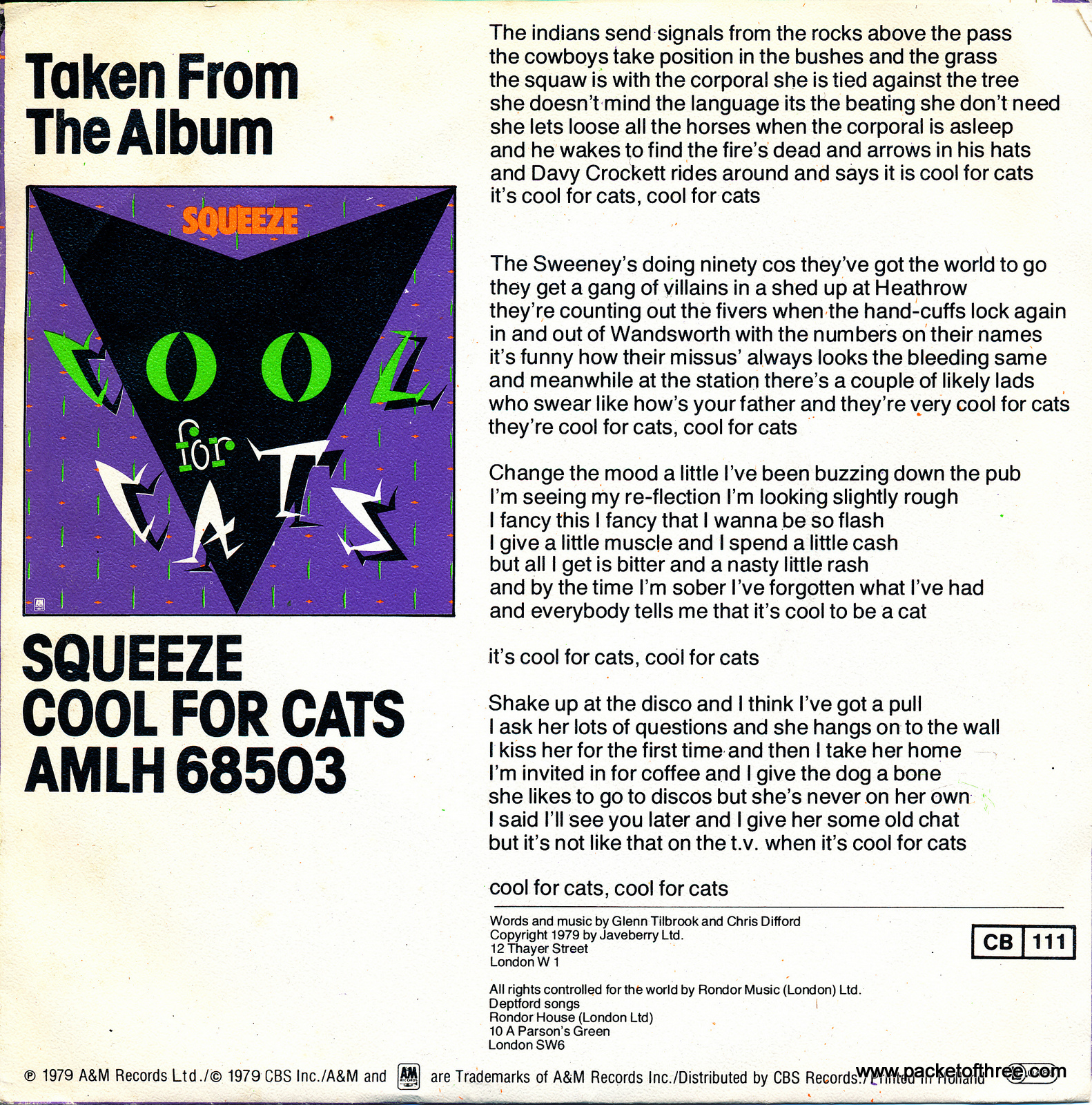 """Cool For Cats - Netherlands - 7"""" - picture sleeve"""