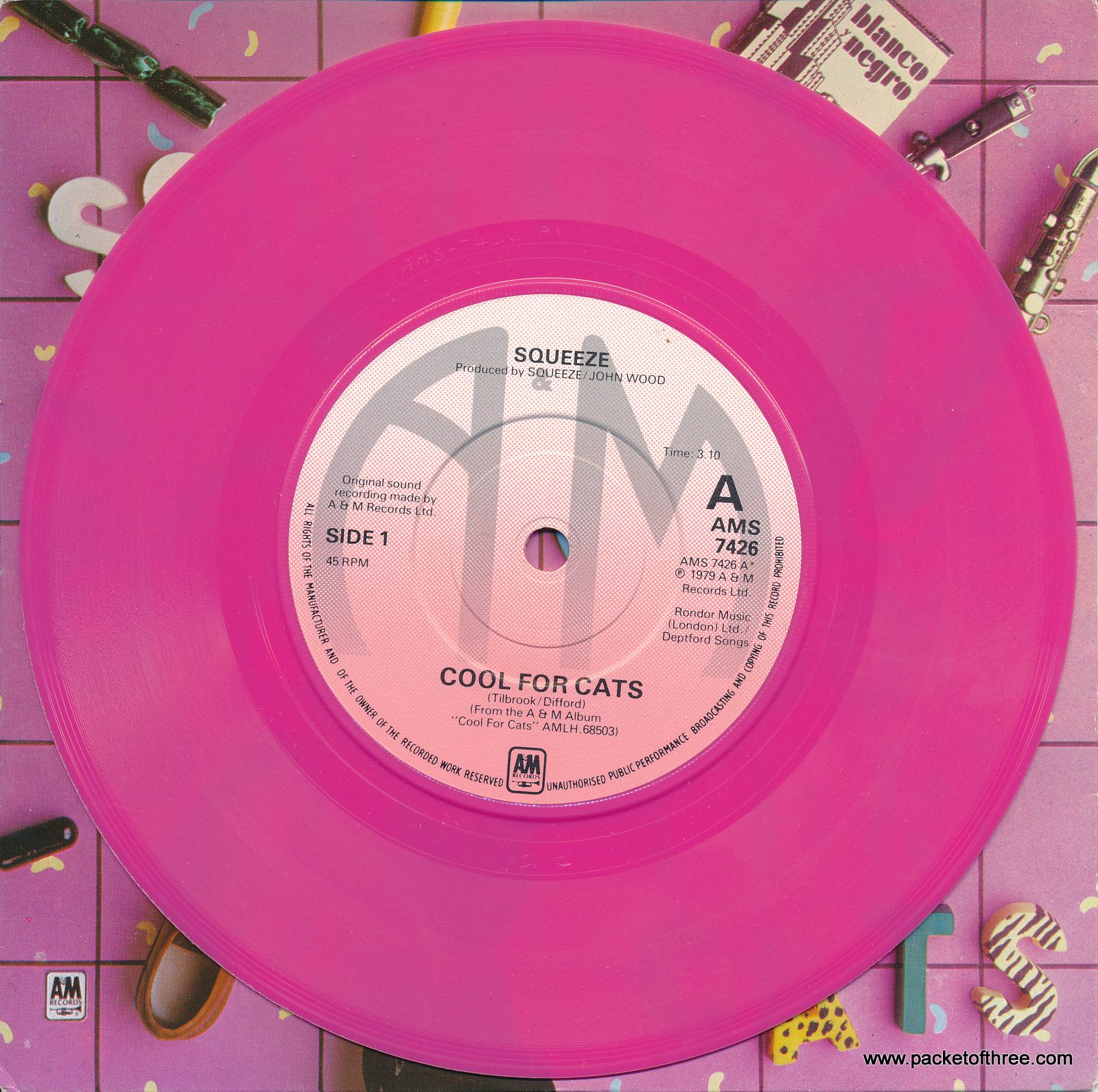 "Cool For Cats - UK -7"" - picture sleeve - bright pink vinyl"