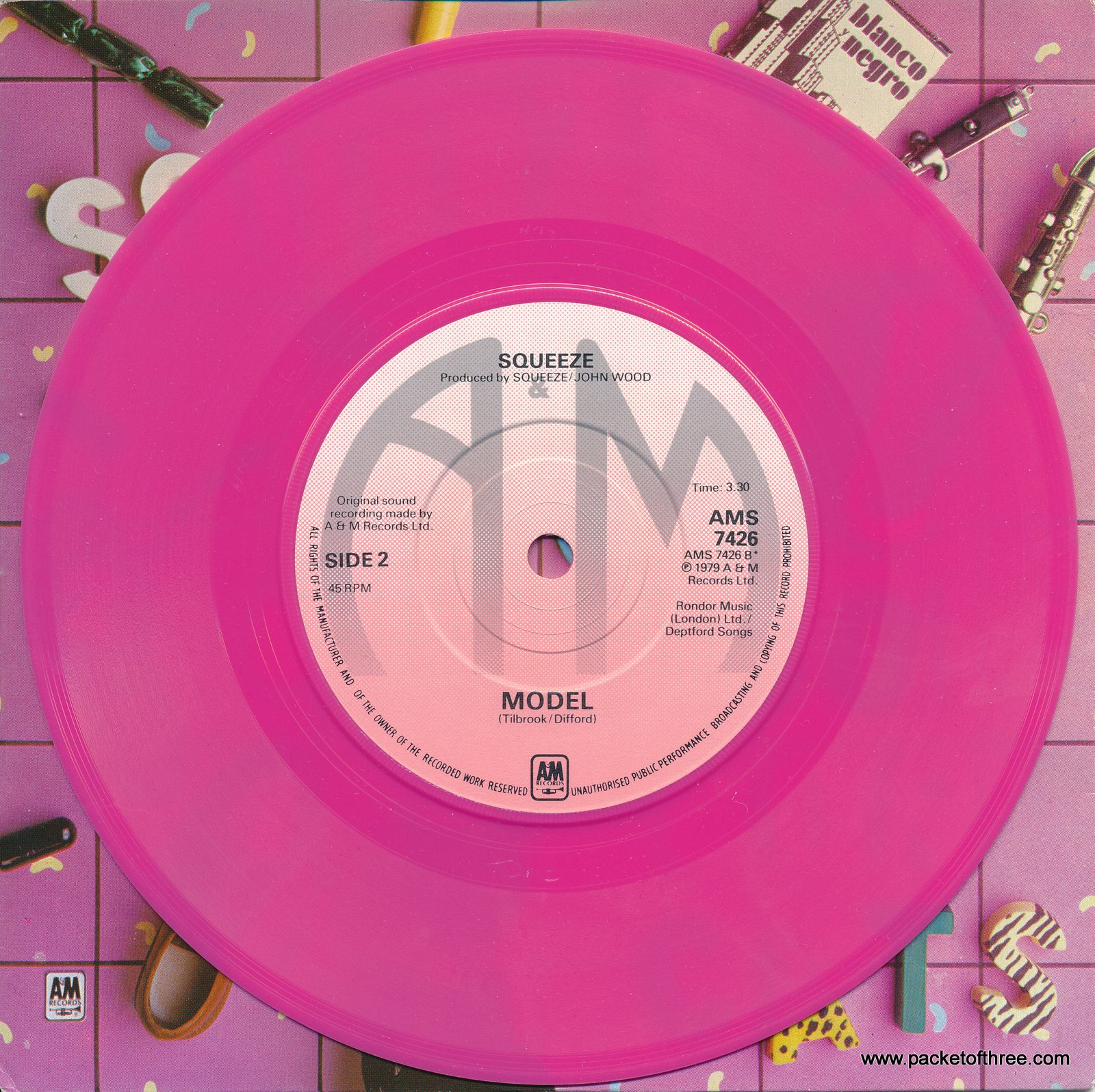 "AMS 7426 UK 7"" picture sleeve bright pink vinyl"