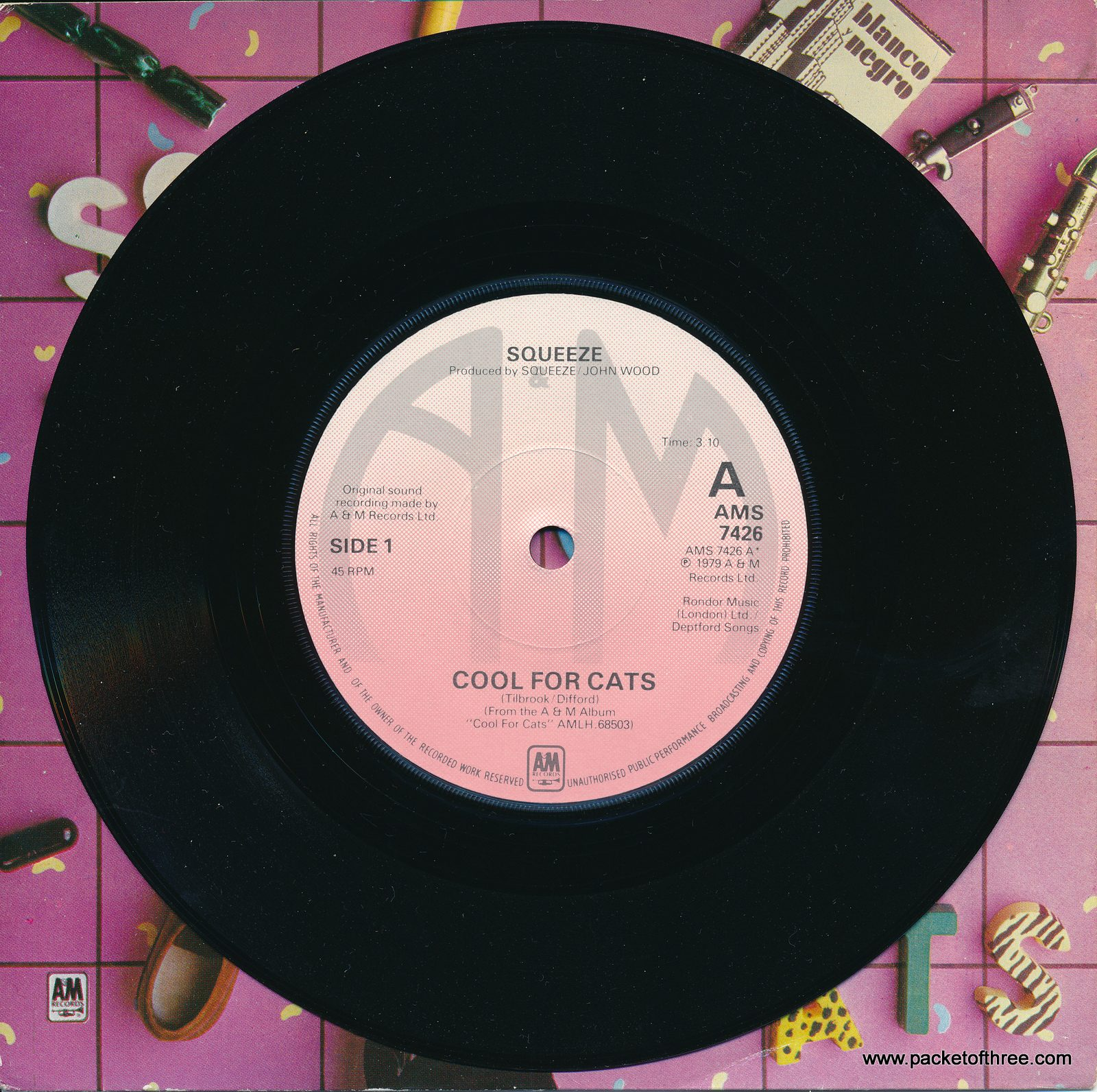 "Cool For Cats - UK - 7"" - picture sleeve pink labels"