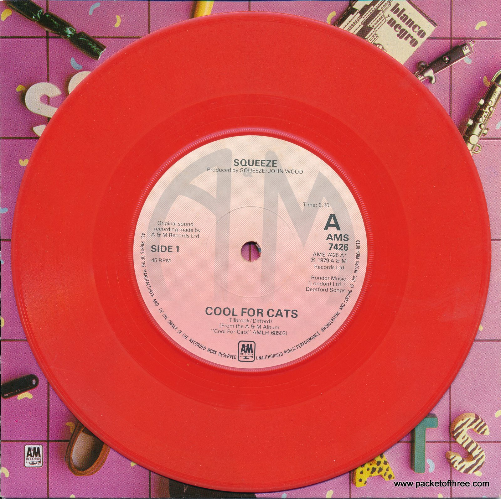"Cool For Cats - UK - 7"" - picture sleeve - red vinyl"