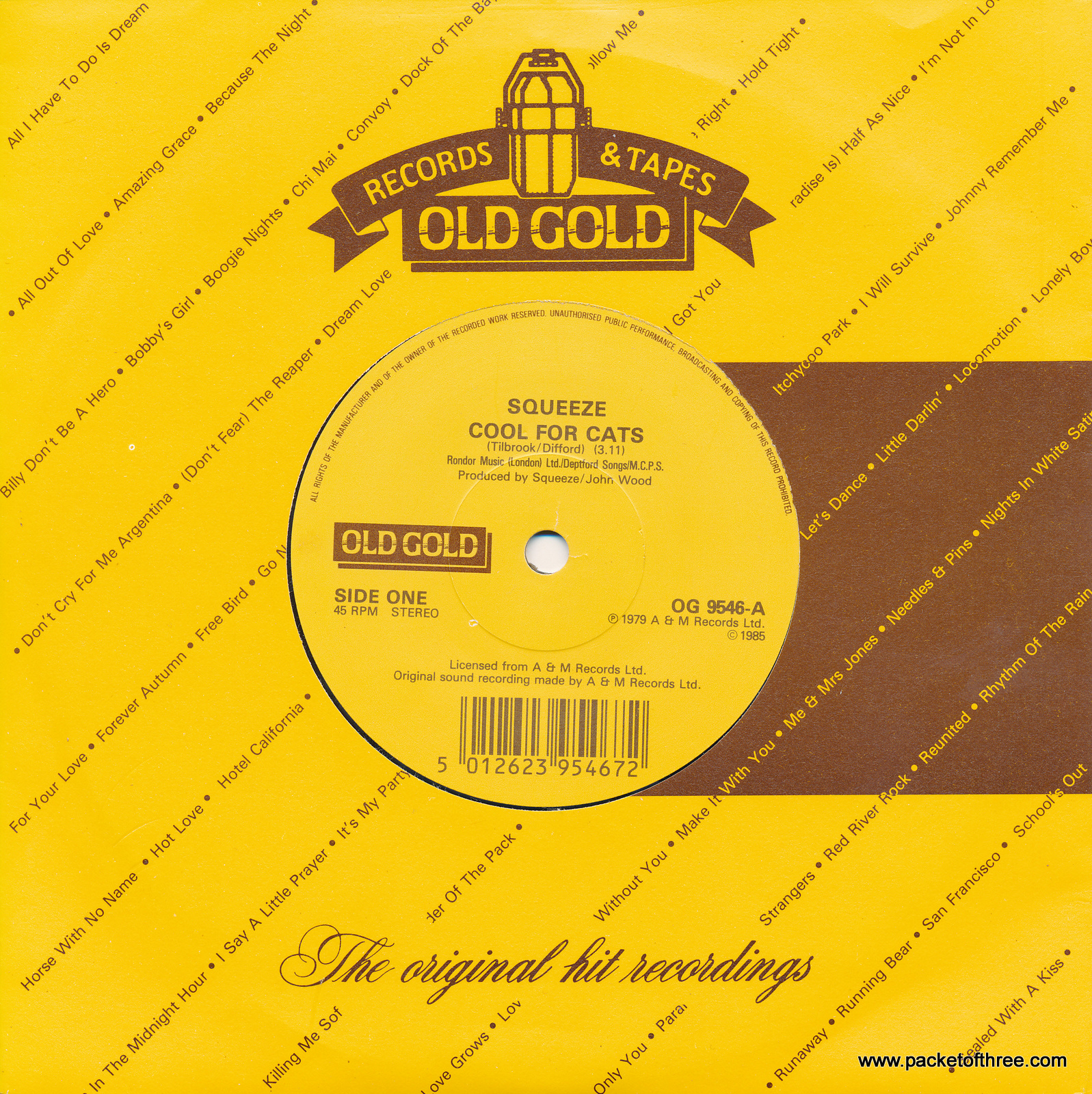 "Cool For Cats - UK - 7"" - Old Gold"