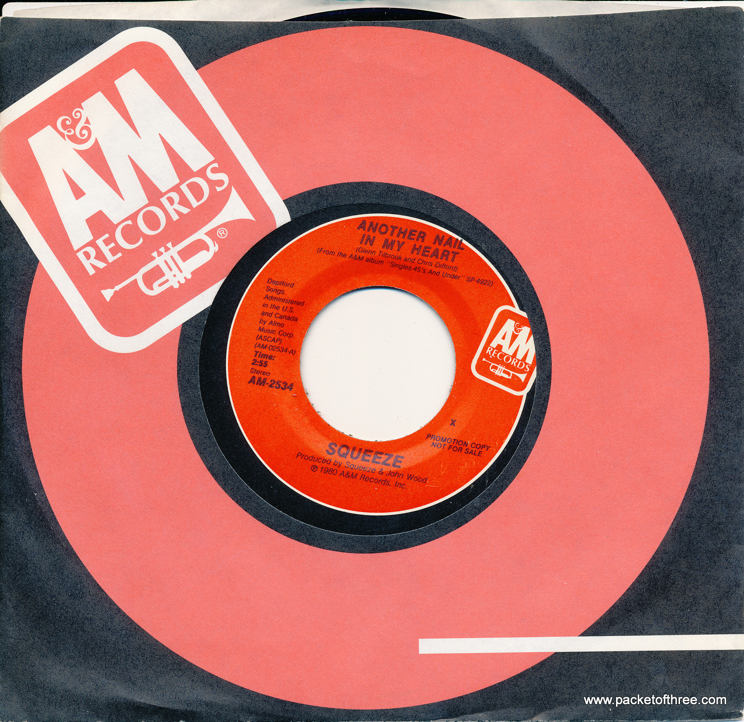 "Another Nail In My Heart - USA - 7"" - Mono/Stereo Promotional Copy"