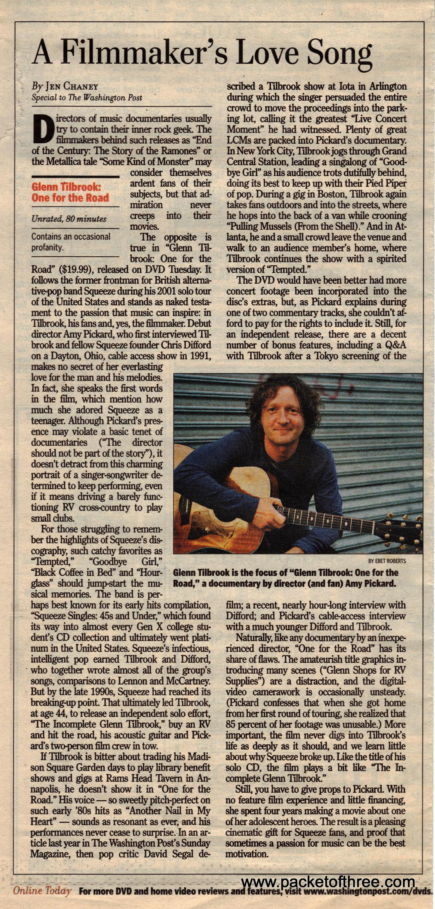 Glenn Tilbrook - 27 January 2006 - Washington Post review of One for The Road