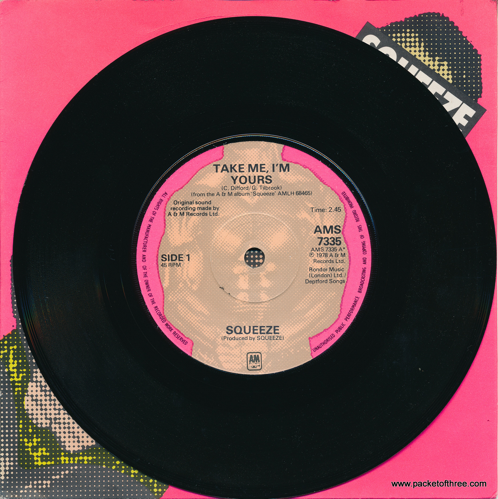 """Take Me I'm Yours - UK - 7"""" - picture sleeve"""