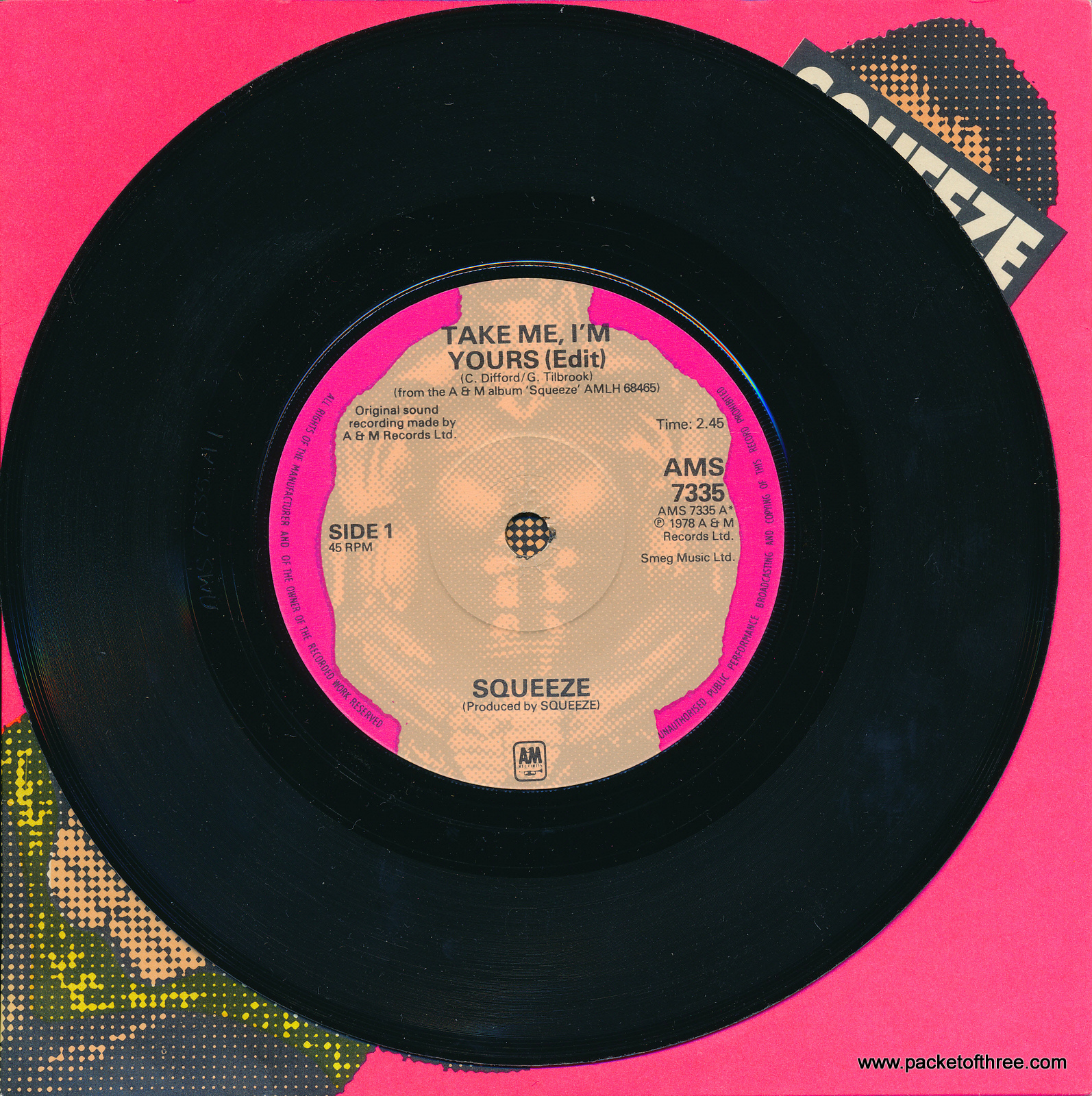 "Take Me I'm Yours - UK - 7"" - picture sleeve - Smeg Music / Edit Label"