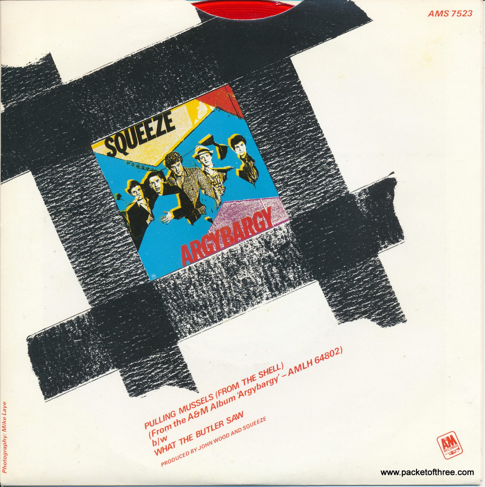 """Pulling Mussels (From the Shell) - UK - 7"""" - picture sleeve - red vinyl"""