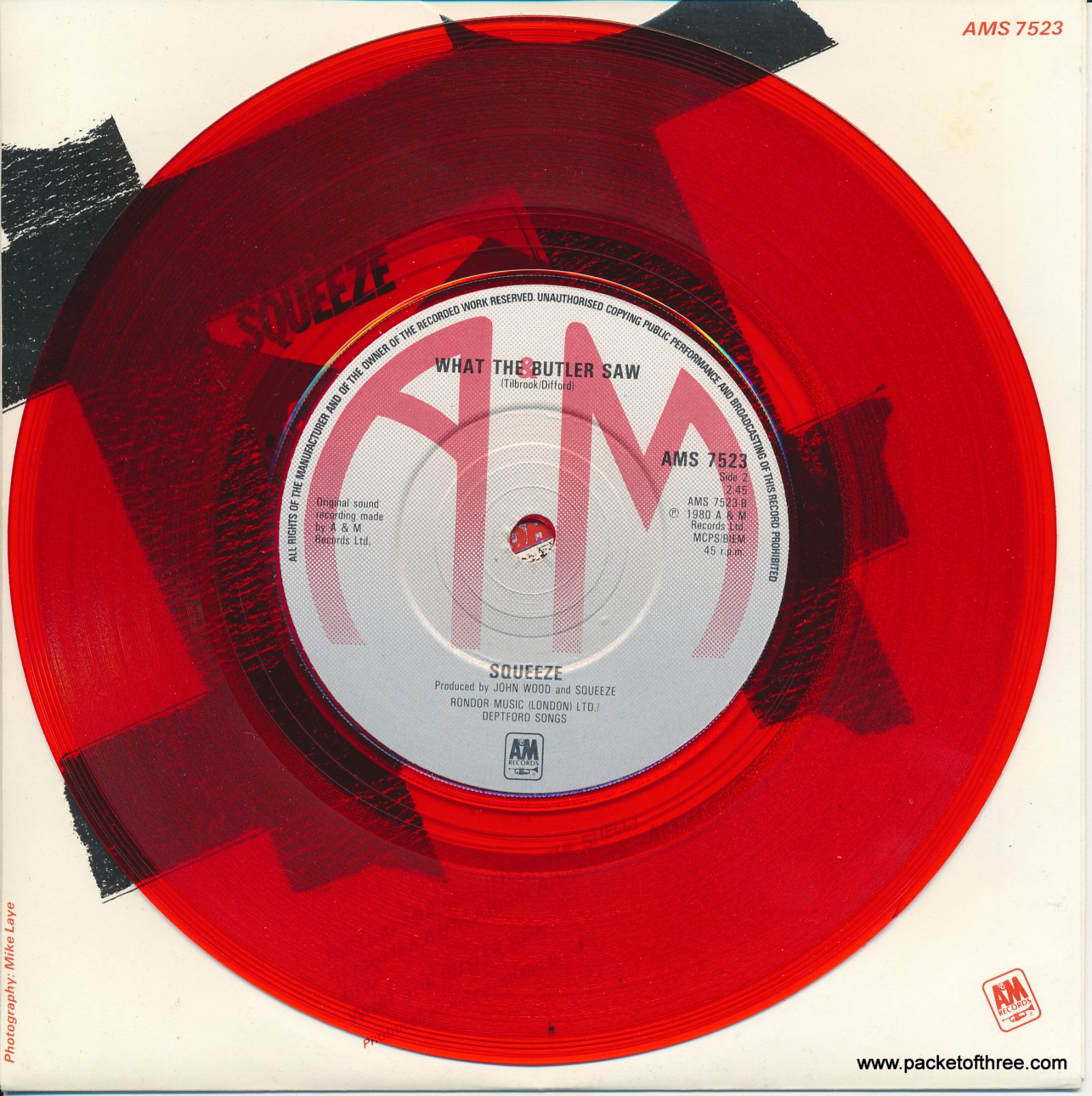 "Pulling Mussels (From the Shell) - UK - 7"" - picture sleeve - red vinyl"