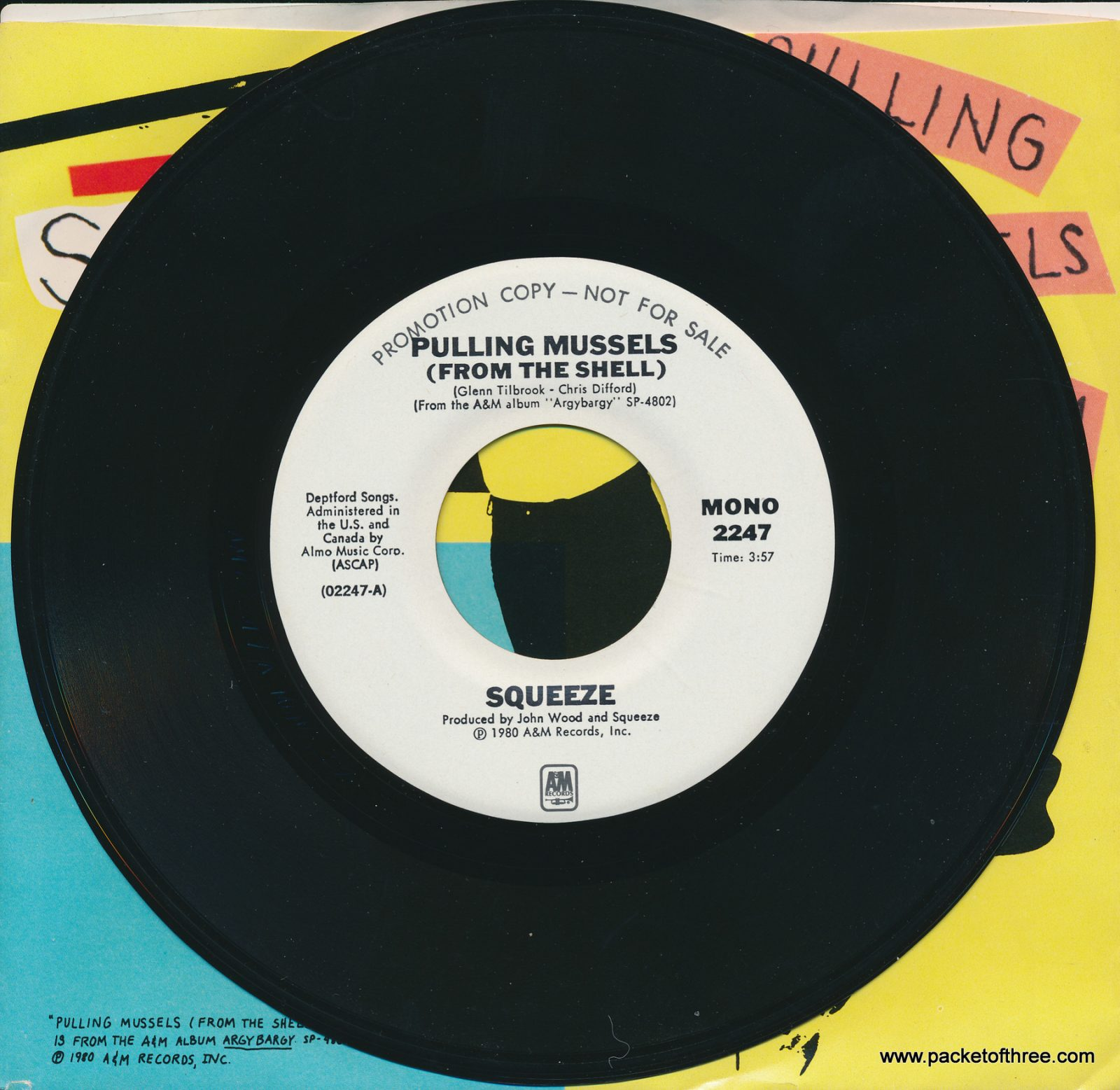 """Pulling Mussels (From the Shell) - USA - 7"""" - picture sleeve - mono/stereo promotional copy"""