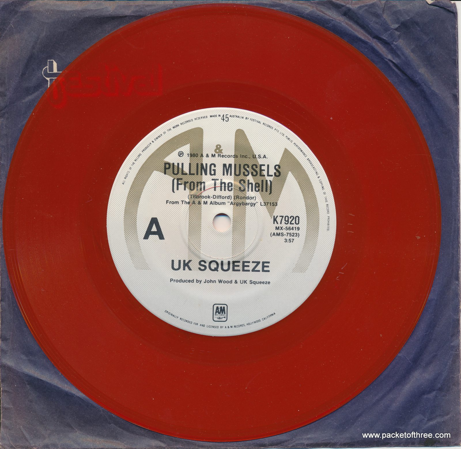"Pulling Mussels (From the Shell) - Australia - 7"" - red vinyl - paper sleeve"