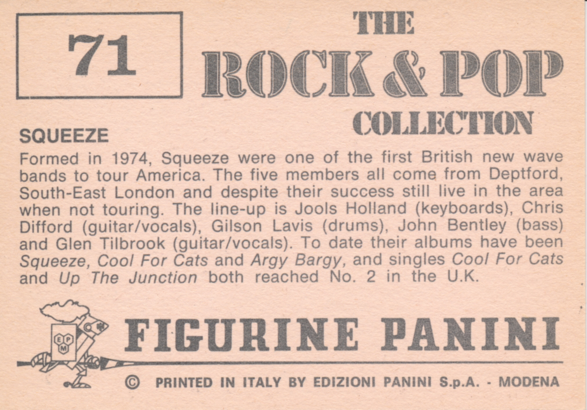 Figurine Panini - The Rock and Pop Collection - Squeeze - back